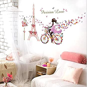 Paris Eiffel Tower Fairy Wall Stickers Window Film Elf Girl Princess Wall  Decals Butterfly Flowers Dancing Part 68