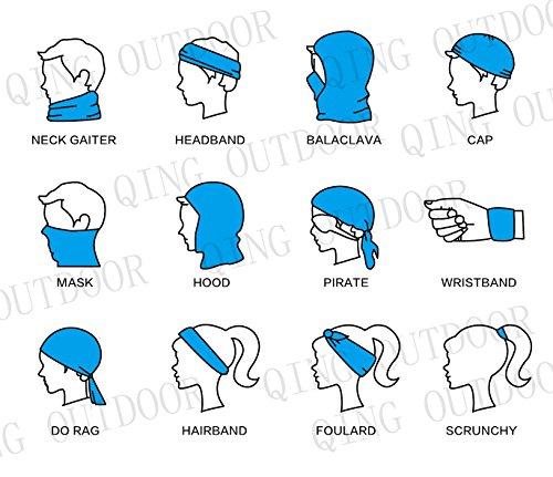 QING OUTDOOR Premium Double Dry Headwear Sweat Wicking Headbands Neck Gaiter Bandana Balaclava Helmet Liner Head Wrap Head Scarf Sweatband Top Quality Set of 4