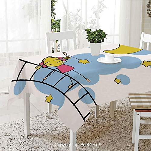 Large Family Picnic Tablecloth,Easy to Carry Outdoors,Star,Cute Girl on Ladder Hanging a Star in The Night Sky with Half Moon Cartoon Picture,Yellow Blue,59 x 104 inches