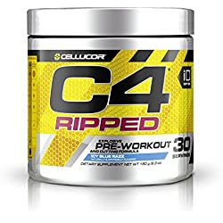 Cellucor, C4 Ripped, Explosive Pre-Workout Supplement and Cutting Formula, Icy Blue Razz, 30 Servings