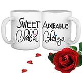 Tied Ribbons Gift To Bhaiya Bhabhi Set (2 Printed Coffee Mug 325 ml each with Red Rose )