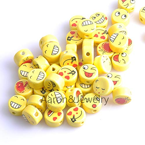 Calvas 16x9mm 20pcs Yellow Round Smile Print Ceramic Beads Loose Beads Fit Jewelry DIY Spacer Beads YKL0309