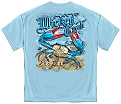 Show your love of all things fishing with our blue claw crab short sleeve tshirt. Our fishing themed men's collection is a must have! Whether you are searching for a gift or the final piece to complete your wardrobe our fishing inspired cloth...