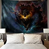 YSJ Home Decor Galaxy Wolf Tapestries Running Wolf Animal Wall Art Tapestry Living Dorm Beach Throw Tapestries Wall Hanging Colorful (230x180 cm / 90x70 inches)
