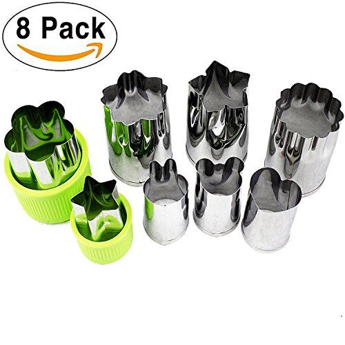ONUPGO Vegetable Cutters Shapes Set (8 Piece) - Cookie Cutters Fruit Mold Cheese Presses Stamps for Kids Shaped Treats Food Making Cute Cutouts for Customizing (Hearts Mini Cut Outs)