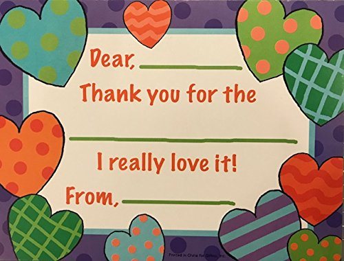 Elegant Notecards (20 Count Kids Hearts Fill-in Thank You Notes)