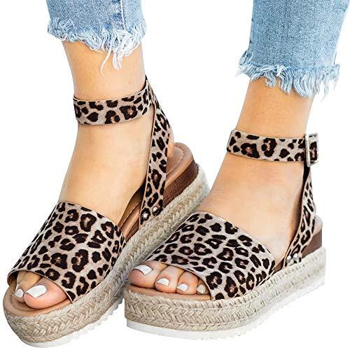 Womens Leopard Platform Heel - Athlefit Women's Platform Sandals Espadrille Wedge Ankle Strap Studded Open Toe Sandals Size 5.5 Leopard