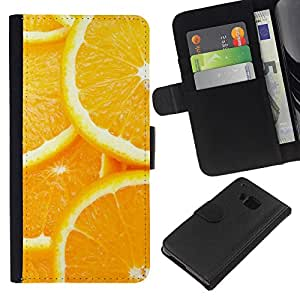 Stuss Case / Funda Carcasa PU de Cuero - Modelo anaranjado de la rebanada - HTC One M7