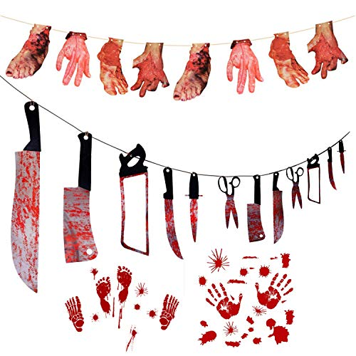 Halloween Party Decoration Set, Bloody Fake Arms Hands, Bloody Weapons Garland Props, Bloody Clings for Halloween Decorations Scary Hanging Banner Party Supplies