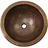 The Copper Factory CF151AN Solid Hand Hammered Copper Large Round Self  Rimming Lavatory Sink, Antique Copper