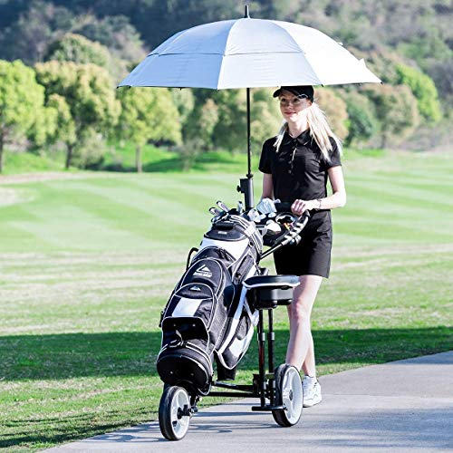 Outdoor Golf Bag Carry Cart Trolley Caddy Seat Foldable 3 Wheels Push Pull Golf Club Cart Trolley w/Stool Umbrella Holder