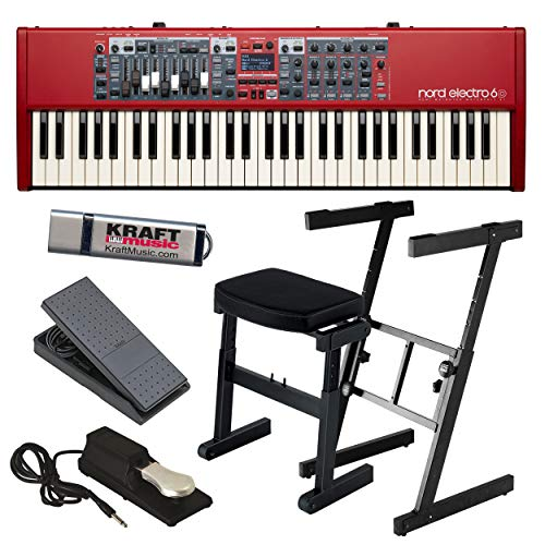 Nord Electro 6D 61 with Z-Frame Stand, Z-Frame Bench, Expression Pedal, Piano-Style Sustain Pedal and Flash Drive