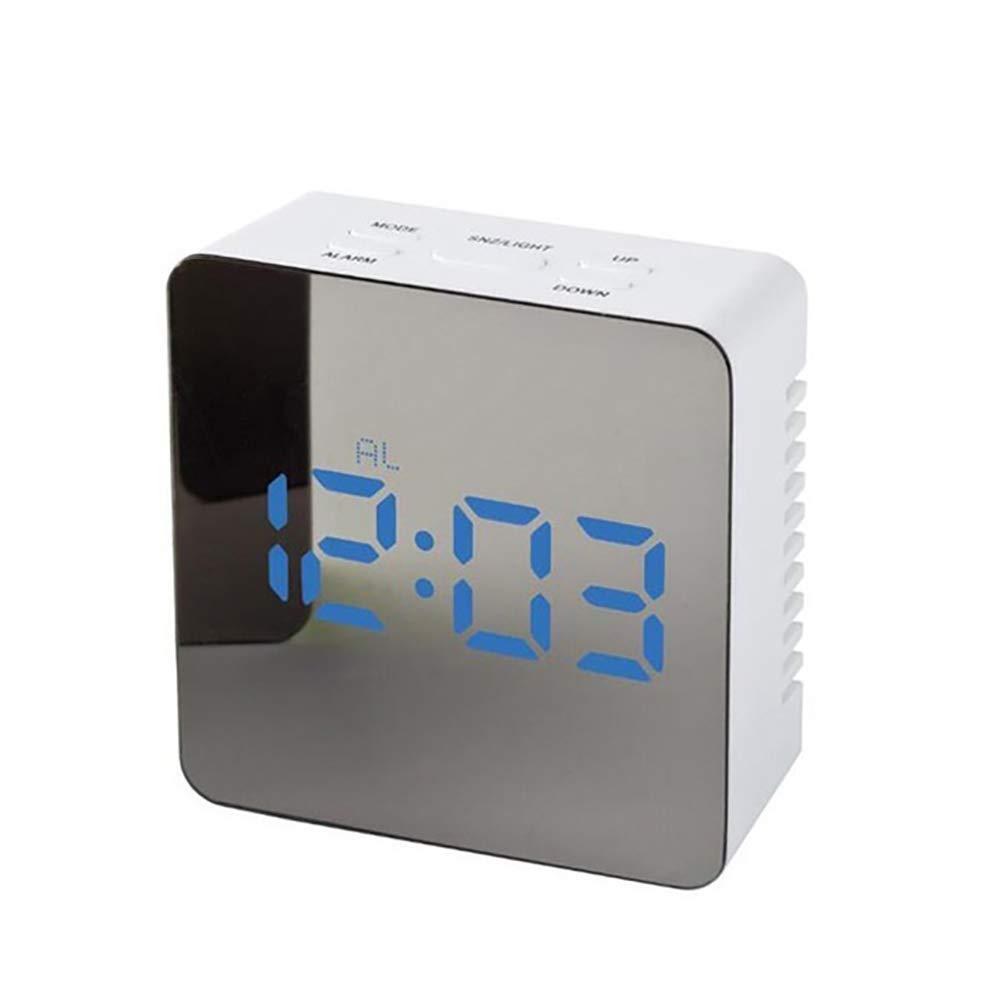 CactusAngui Makeup Mirror LED Night Light Mute Temperature Time Display Digital Alarm Clock Blue Rectangle