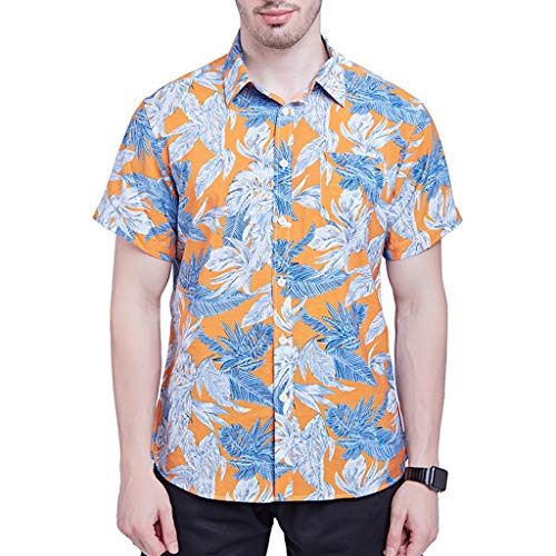 Short Sleeve Top Men New Short Sleeves of Beach Wind Printing Fashion Cotton