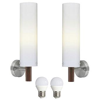 2er Set LED Außen Wand Leuchten 7 Watt Fassaden Lampen Edelstahl Beleuchtung