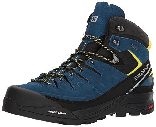 SALOMON X Alp Mid LTR GTX Hiking Boot - Men's Black/Poseidon/Sulphur Spring 10