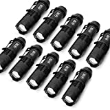 10 Pack Small EDC LED Flashlight 7W 350 lumen Tactical Zoomable Pocket Torch Portable Flashlights Bulk Best Handheld Light for Home,...