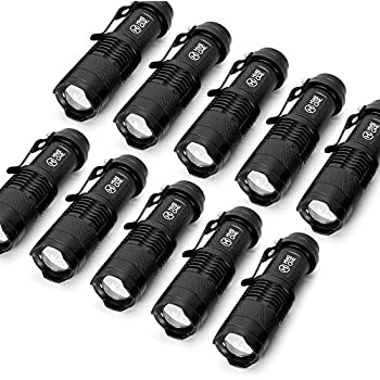 10 Pack Small Edc Led Flashlight 7w 350 Lumen Tactical Zoomable