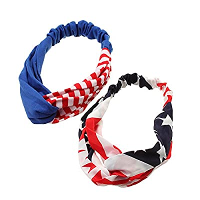 iWenSheng Fashion American Flag Stars & Stripes Turban Twisted Head Wrap Knotted Headbands USA 4th of July Hair Accessories Pack of 2 Pcs