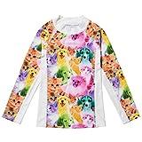 Jxstar Little Girls Collared Long Sleeve Swimsuit Animal Pattern Cat Dog Printed One Piece Swimwear Rash Guard Shirt Cat Dog Top 110