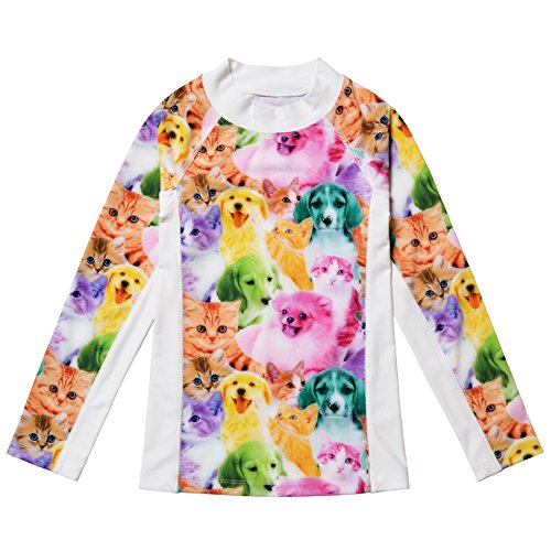 Printed Crew Rash Guard - Jxstar Big Girls Collared Long Sleeve Swimsuit Animal Pattern Cat Dog Printed One Piece Swimwear Rash Guard Shirt Cat Dog Top 140