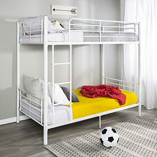 - New Sunrise Metal Twin-over-Twin Bunk Bed in White Finish