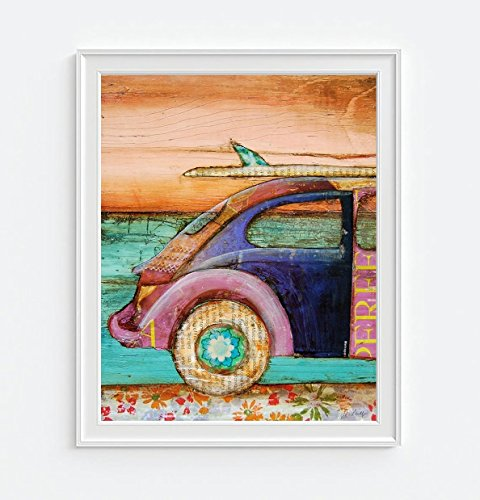 The Perfect Day - Danny Phillips art print, UNFRAMED, vw volkswagen bug surfboard ocean beach Inspired funky retro vintage mixed media art wall & home decor poster, 8x10 inches