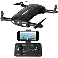 2.4GHz Six Gyro Foldable Drone FPV WIFI Real-Time Video Remote Controlled Rechargeable Mini Quadcopter Pocket Aircraft with HD Camera(Black-FQ05)