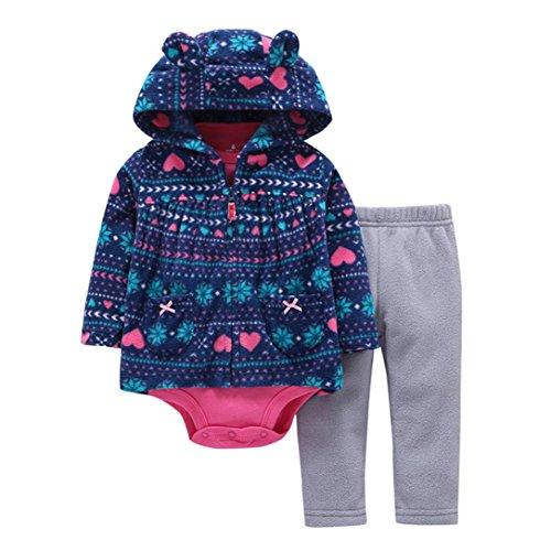 3pcs Kids Baby Boys Girl Long Sleeve Star T-shirt Tops Pants Hat Outfit Set(Blue) - 2