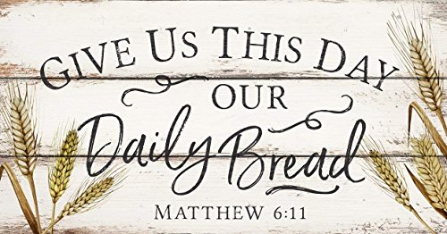 (CELYCASY Give Us This Day Our Daily Bread Wheat White 20 x 10.5 Wood Pallet Wall Plaque Sign)