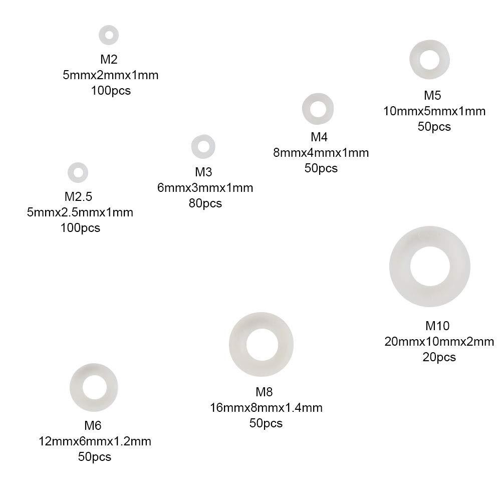KINDPMA 500 Piezas Junta Arandelas Planas Arandelas de Plastico Redondas Arandela Nylon Blanco M2 M2.5 M3 M4 M5 M6 M8 M10 para Perno de Tornillo Instalaciones Fontanero