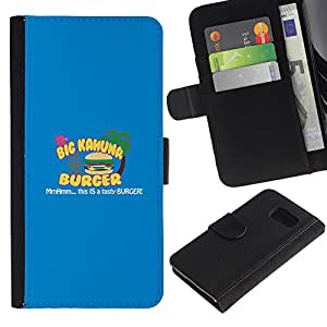 LECELL--Cuero de la tarjeta la carpeta del tirón Smartphone Slots Protección Holder For Sony Xperia Z3 Compact -- Kahuna Hamburguesa Sabrosa --