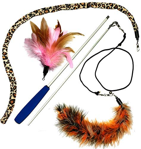 Pet Fit For Life Multi Feather Teaser and Exerciser for Cat and Kitten - Cat Toy Interactive Cat Wand 2