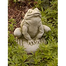 Campania International A-239-AL Frankie Frog Statue, Aged Limestone Finish