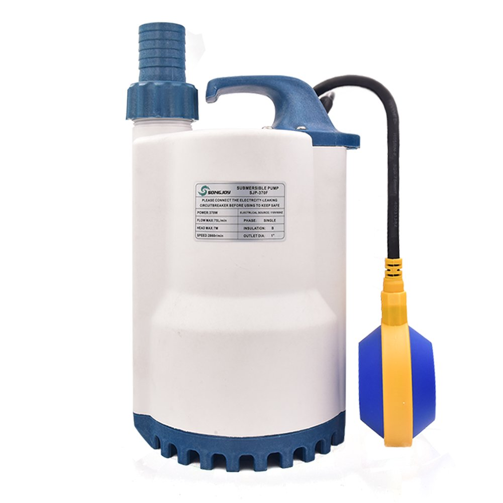 SONGJOY 1/2 HP Submersible Sump Pump 2250GPH Utility Water Pump with Float Switch For Swimming Pool Pond Basement Drainage Garden Irrigation Water Transfer