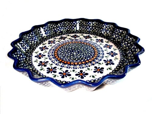 Blue Rose Polish Pottery Mosaic Flower Fluted Quiche Dish