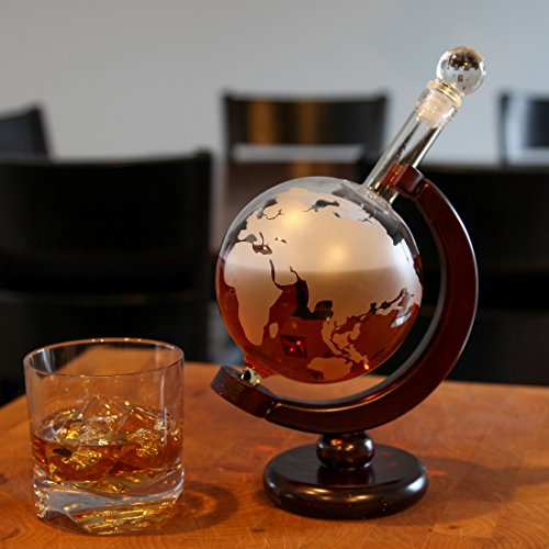 Lily's Home World Globe Whiskey Decanter with Dark Finished Wood Stand and Bar Funnel, Let Your Favorite Vintages Breathe with this Beautifully Stylish and Functional Piece (850 ml) by Lilyshome (Image #2)