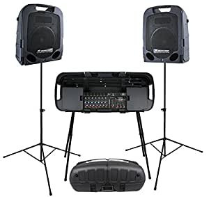 Package: Peavey Escort 5000 500w Portable Folding PA System Including Powered Speakers, Mixer, Case, and Free Wireless Mic system Offer + Peavey Escort Stand For Escort Series Mixer