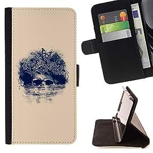 Momo Phone Case / Flip Funda de Cuero Case Cover - Cráneo floral de la mariposa;;;;;;;; - Apple Iphone 5C