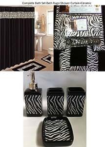 19 piece bath accessory set black zebra animal for Zebra kitchen set