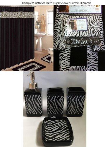 19 Piece Bath Accessory Set Black Zebra Animal Print Bath Rug Set + Black Zebra Shower Curtain & - Zebra Shower Print