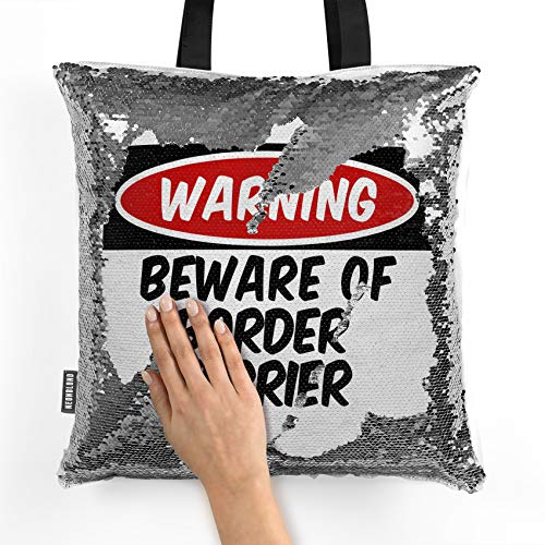 (NEONBLOND Mermaid Tote Handbag Beware of the Border Terrier Dog from Scotland, England Reversible Sequin)