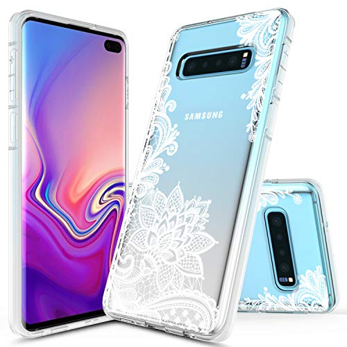 (Samsung Galaxy S10 Case, Onyxii Graphic Pattern Designed Ultra Thin Slim Crystal Clear Transparent Soft TPU Cover Case for Samsung Galaxy S10 (White Lace Flower))