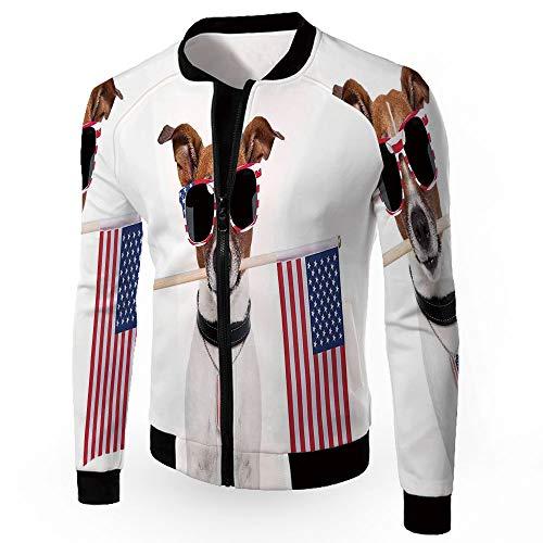 Fashion Jackets,Dog Lover Decor,Zipper Sportswear Patchwork Long Sleeve Coat,AME