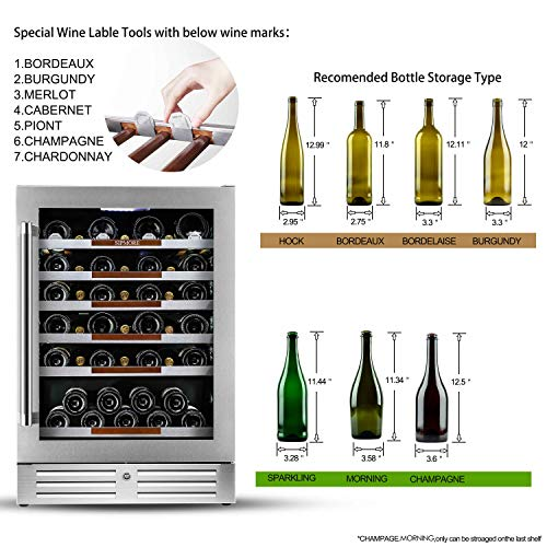 Sipmore 24'' Wine Cooler Refrigerator 44 Various Bottle Built-in or Freestanding Single Zone with Seamless Stainless Steel and Smart Temperature Stabilize System with Stage LED Design by Sipmore (Image #2)