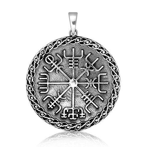 (WithLoveSilver Solid 925 Sterling Silver Celtic Talisman Vegvisir Viking Compass Protection Pendant)