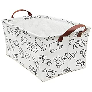 BOOHIT Rectangular Storage Bin,Waterproof Coating Storage Baskets,Collapsible Toy Storage Bins with Handles,Shelf Organizer Bin,Toy Box(Vehicle)