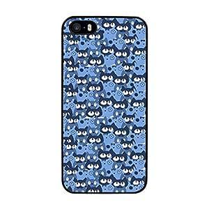funda carcasa para Apple iPhone SE estampado gato gatos azul borde negro