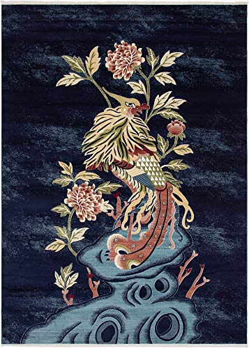 Unique Loom Gansu Collection Animal Antique Finish Chinese Pattern Navy Blue Area Rug (9' 0 x 12' 0) (Chinese Antique Rug)