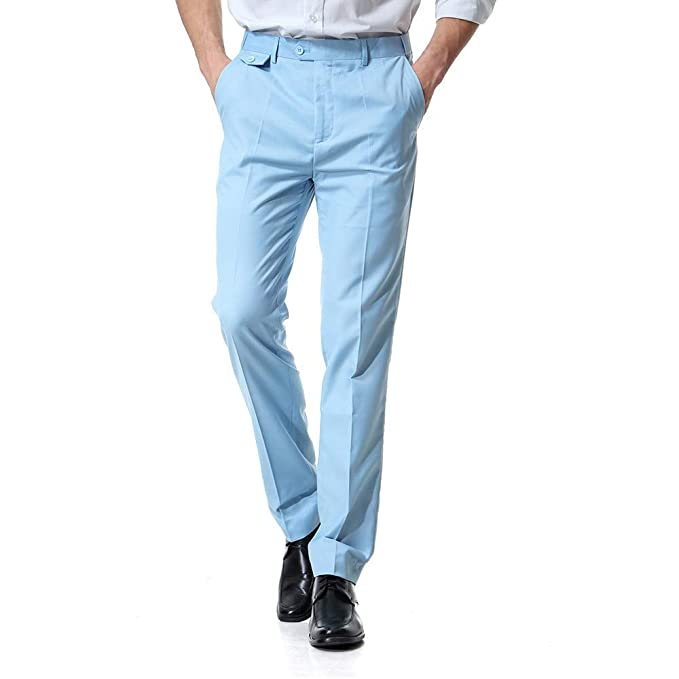 8ca9930087951 Ms lily Men's Business Suit Pants Casual Pants(Light Blue-Small) at ...